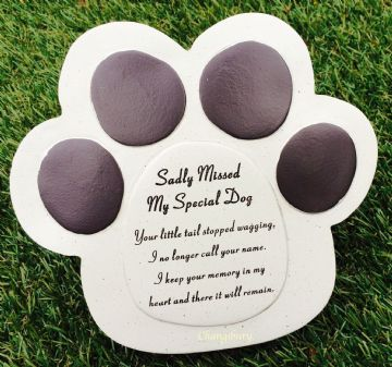 Large 16cm SADLY MISSED MY SPECIAL DOG PAW Grave Stone  DF13621